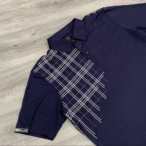 Hollas Dark Blue Men's Collared Golf Shirt